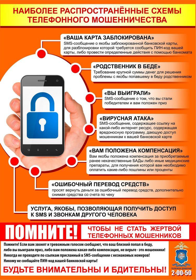 распространенные схемы мошенничества по телефону