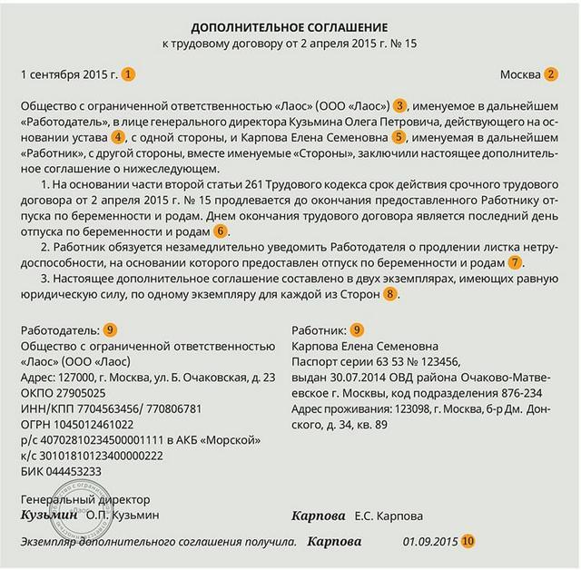 образец дполнительного соглашения к трудовому договору