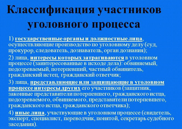 классификация участников уголовного процесса